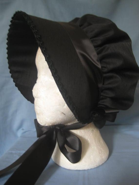 Regency Bonnet. Victorian, Steampunk. Black Silk, Gothic Mourning Bonnet.