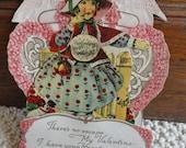 Antique Valentine Card, Vintage Die Cut Embossed Pop Up Valentines Day Card, Pretty Girl Spaniel Dog Greeting Card, Vintage Paper Supply