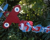 Airplane  Happy 1st Birthday BANNER in Red and Blue and White
