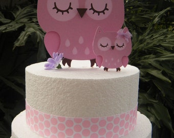Mommy and Baby Owl CAKE TOPPERS in Pinks and Light Purple