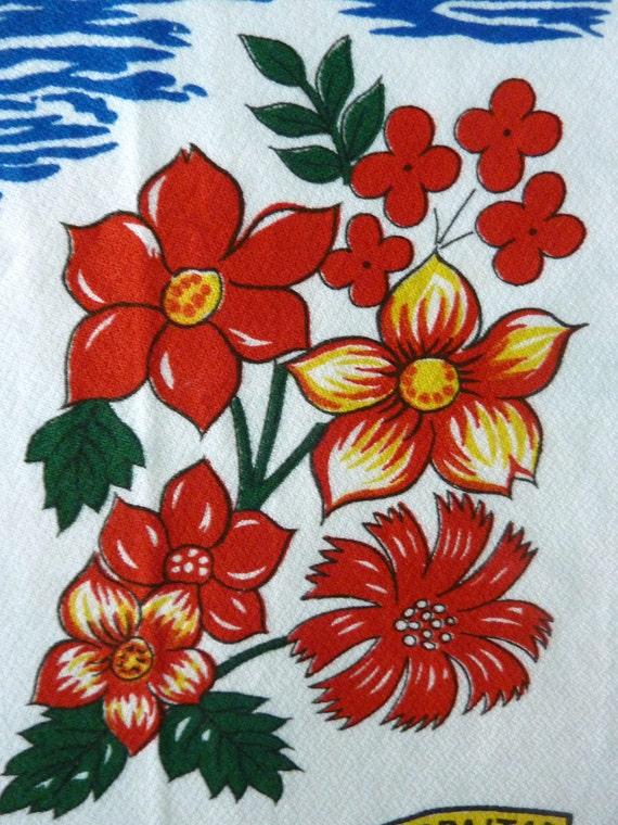 """Vintage Souvenir Tea Towel """"Gibraltar"""" circa 1970s"""