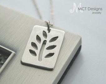 Silver Leaf charm necklace - TWIG