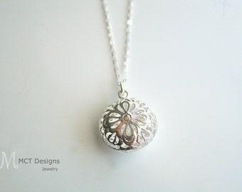 Silver round filigree, charm, necklace - ELLA