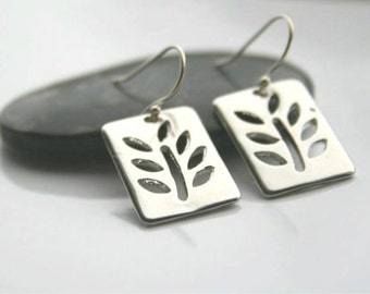 Silver leaf earrings - TWIG earrings