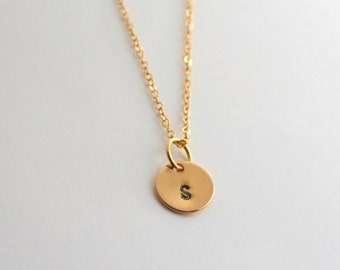 Gold round initial charm, personalized, necklace - GOLD INITAL CHARM