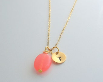 Coral, initial charm, gold, monogram necklace - CORAL INITIAL