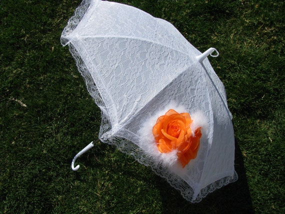 Sun Parasol - White Lace Umbrella - Girls Sun Umbrella with Orange Rose and Boa - Style 19