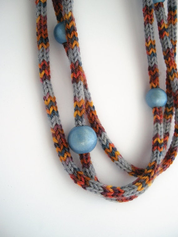 Multicolored knitted necklace, blue wooden beads, chunky statement necklace, fiber jewelry, gray, orange