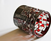 "Stained Glass Tea Light Candle Holder ""Ancient Symbols in Modern Look"" Red, Black and Silver"