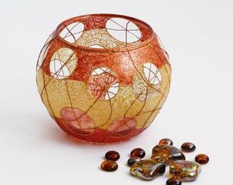 Vase, Glass Sphere Vase, Hand Painted Vase, Centerpiece, Tea light Candle Holder, Pot, OOAK