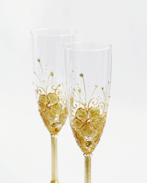 Wedding Champagne Flutes Hand painted Golden Flowers Swarovski Crystals Set of 2