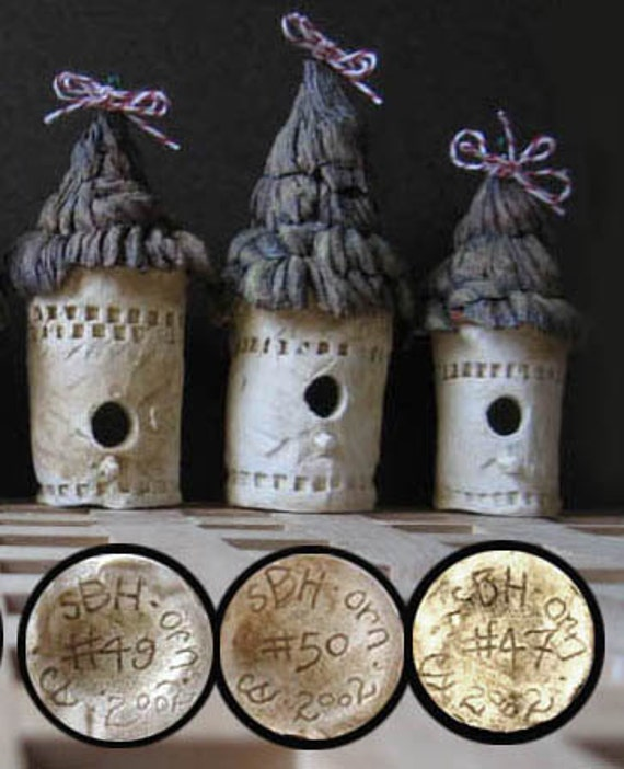 RESERVED: Set of 20 Stoneware Birdhouse Ornaments