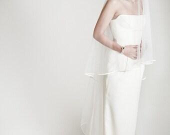 Waves - two layers wedding bridal veil, satin finish, ivory or white [style 009]