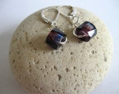 Czech Glass Earrings. Faceted Sapphire Blue With Hints of Burgundy. Sterling Silver Leverback Earwires. Dramatic. Rich.