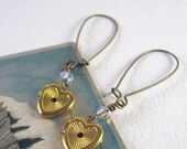 Vintage Locket Earrings, Brass Hearts with Crystal Accents, Antiqued Brass Earwires