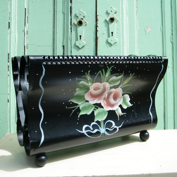 Tole Magazine Rack Shabby Chic Charm with Fretwork Detailing