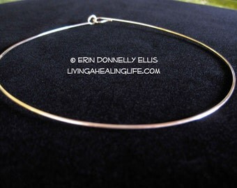 Solid Sterling Silver Hoop Necklace - Handmade Reiki Infused