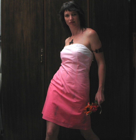 SALE*summer dress, watermelon pink strapless cotton voile hand-dyed pink ombre and charcoal on white size medium