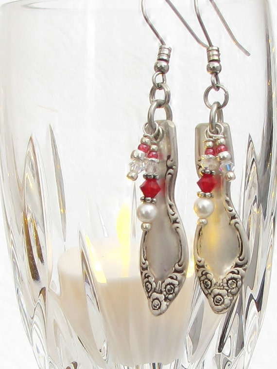 Demitasse Spoon Earrings, Silvery Mist 1955, Red Crystals, White Pearls, Silverware Jewelry