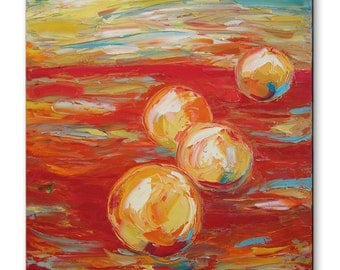 Oranges on red  -  fruits Original Oil Painting on Canvas Palette Knife - red orange still life impasto painting painted sides