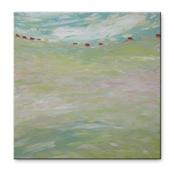 Summer morning - Original Oil Painting on Canvas Palette Knife - light green mint color gallery fine art ready to hang 23x23 impasto field