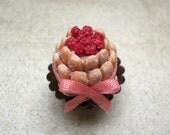 RESERVED LISTING Charlotte Cake with Raspberry - Dollhouse Miniature - one inch scale