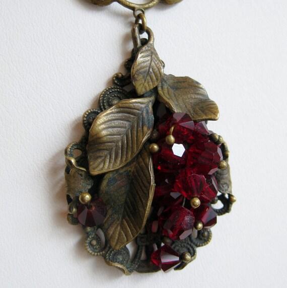 Vintage 20s 30s Necklace Cranberry Red Austrian Czech Glass Bead Gold Filigree Fruit Pendant Necklace