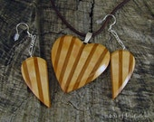 Cherry Dawn - Maple and Cherry Inlaid Wooden Heart Pendant Necklace and Exclusive Half Heart Earring Set  Dangle Earrings - Fall Fashion