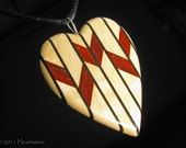 Deco Diamonds and Stripes - Maple Wood with Black and Red Inlays - Wooden Heart Pendant / Necklace