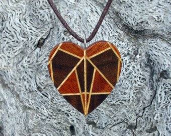 Bird of Prey  - Heart Shaped Tribal Mask Wooden Pendant Necklace in Mahogany and Walnut  - Eco Fashion by Heartistics