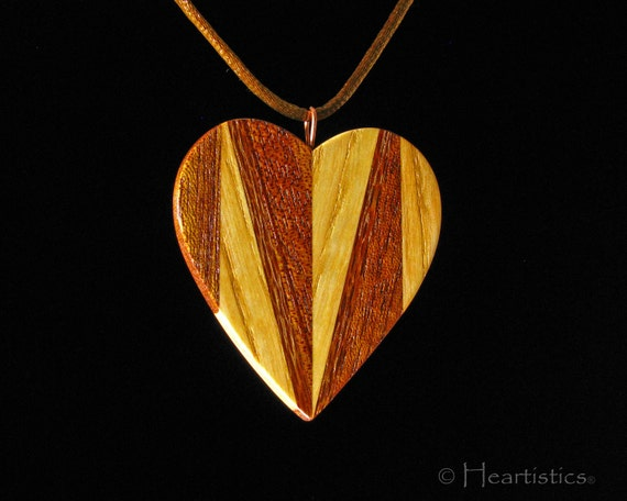 Ash and Mahogany Heart of Opposites - Pendant  Necklace