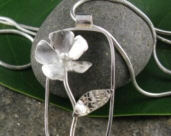 Sterling Silver Rectangular Flower Pendant Necklace-Handmade