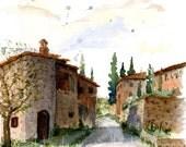 Italian watercolor- Village with Wild Spring Iris- art print