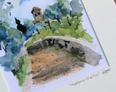 italian landscape painting - Chapel Among Olive Trees - 5x7 watercolor print matted to 8x10