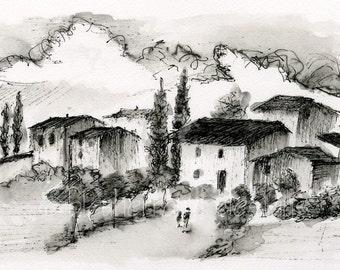 italian landscape- Ink Wash Village- ink drawing art print