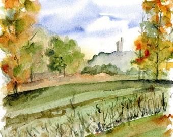 Italy watercolor- Tuscan Autumn- art print