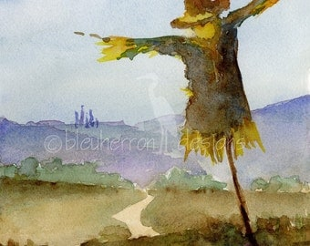watercolor Italian autumn painting- Tuscan Scarecrow- art print