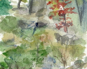 watercolor painting- Japanese Garden, Portland- art print