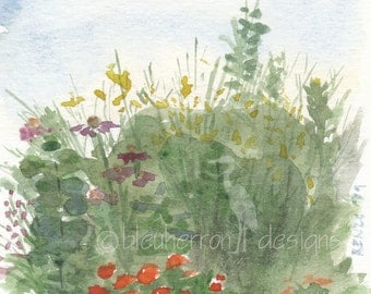 garden watercolor- Prairie Garden- painting print