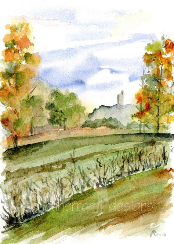 Italy watercolor- Tuscan Autumn- art print