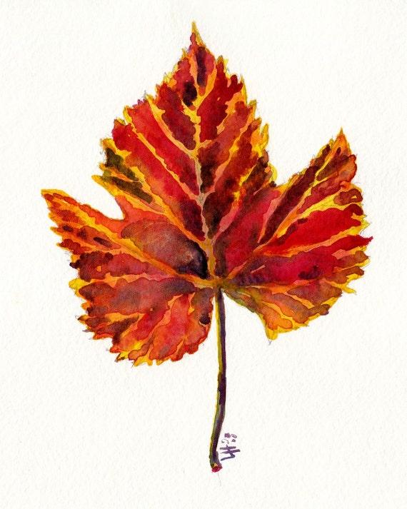 seasonal watercolor- Autumn Grape Leaf- art print