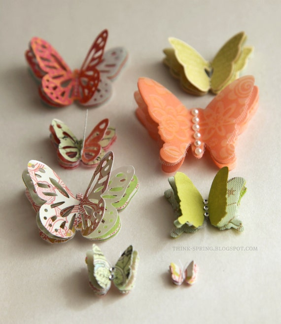 Self-adhesive embellished butteflies - GREEN/PEACH