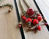 Hand Made Red Treasure Necklace with Glass Bubble, Faceted Glass and Real Saffron Pearls, Vintage Style, Patina