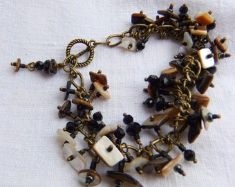 Hand Made Natural shell, Mother of Pearl Charm Bracelet - Jet Glass, Organic, Brass, Chippy, Goes with Everything,