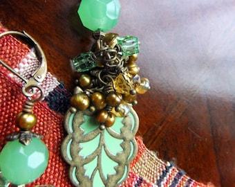 Handmade Earrings - Mint or Jadeite Green Glass and Crystal, Enamel Leaf, Bronze Pearls, Pierced, Boho, Organic, Natural, for pierced ears