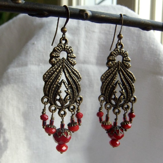 Tiny Red Crystal Heart Dangle Earrings - antique brass, vintage style, red glass