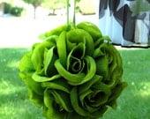 Wedding flower girl Pomander kissing ball - SALE - green rose wedding bouquet wedding decoration