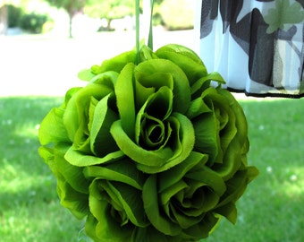 Wedding pomander, Green flower balls, Flower girl kissing ball, Wedding decorations