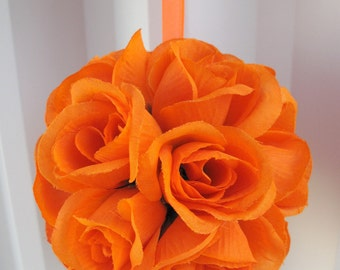 Orange rose ball, Wedding pomander, Flower girl kissing ball, Wedding decorations