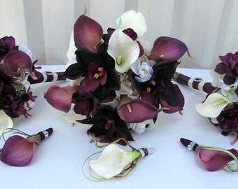 Wedding bouquet 6 piece bouquet set - orchid calla lily plum purple and white bridesmaid bouquets, Boutonnieres, Bridal bouquet package